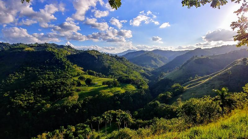 Die grünen Hügel der Cordillera Central, dem Nordküstengebirge der Dominikanischen Republik