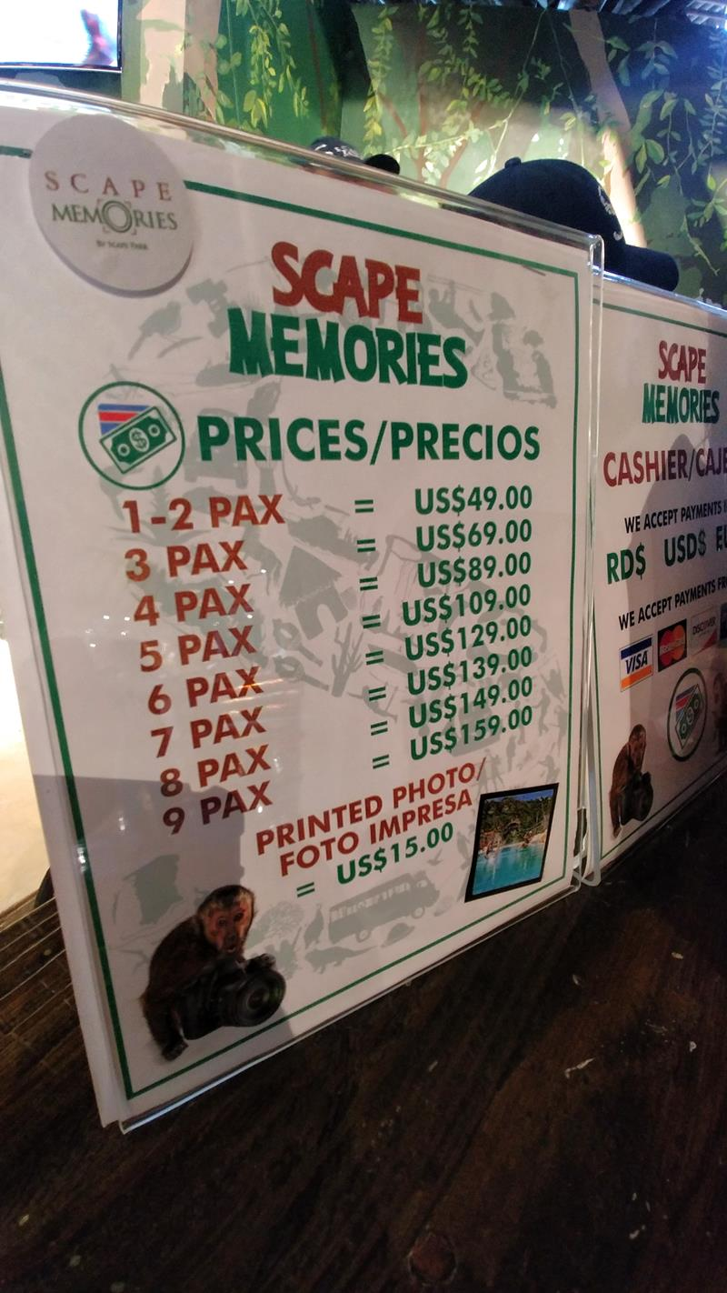 Die Fotopreise im Scape Park Cap Cana sind relativ hoch