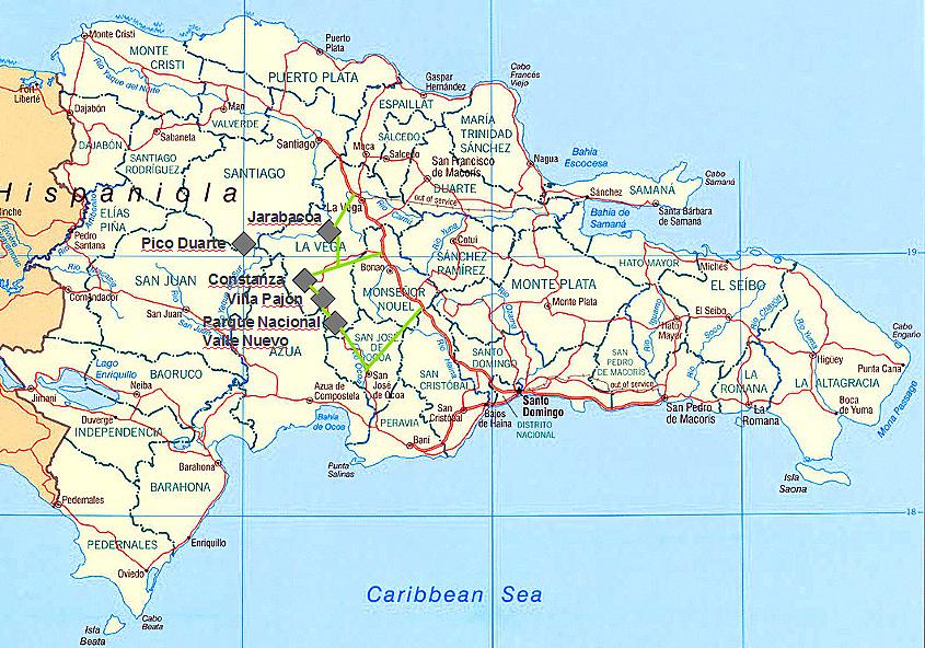 Übersichtskarte zu meinem Reisebericht über die Cordillera Central in der Dominikanischen Republik
