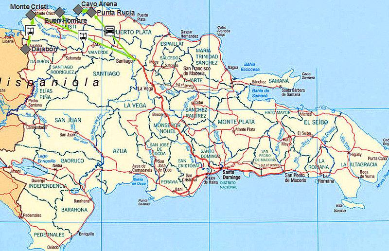 Karte und Reiseroute der Dominikanischen Republik im Nordwesten