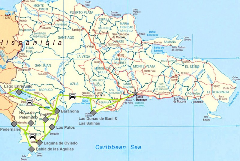 Karte meiner Reise durch den Südwesten der Dominikanische Republik