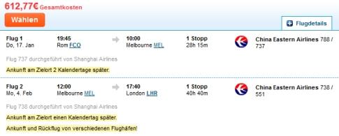 Ein Flug Rom - Melbourne - London für 620 Euro