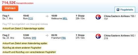 Hier die Variante Rom - Melbourne und Sydney - Frankfurt für ca. 720 Euro
