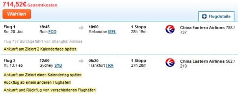 Weiteres Beispiel für einen Flug nach Australien mit China Eastern Airlines