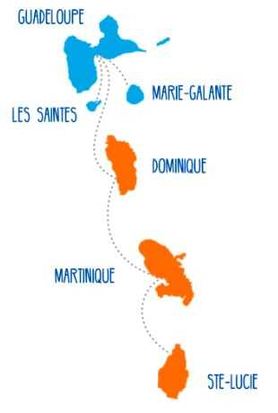 Die Routenkarte von Express des Iles zwischen Guadeloupe, Dominica, Martinique und St. Lucia