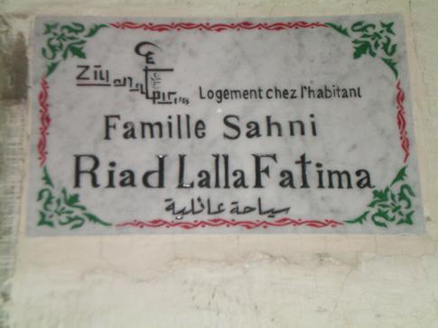 Das Eingangsschild zur Riad lalla Fatima in Fez