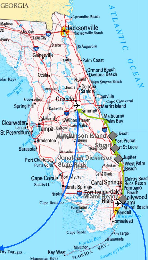 Karte meiner Reise durch Florida