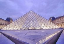 Das berühmte Wahrzeichen des Louvre in Paris