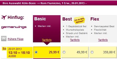 Der Zubringer von Köln-Bonn nach Rom mit Germanwings