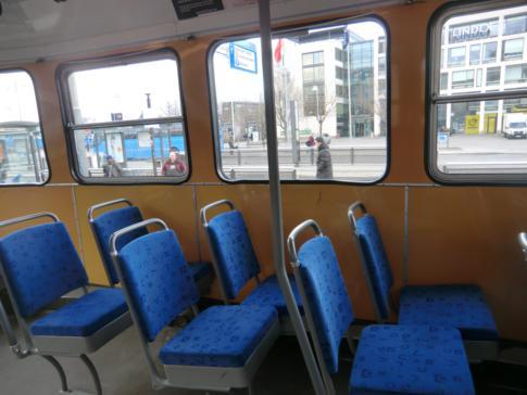 Interessante Sitzanordnung in den Straßenbahnen von Göteborg