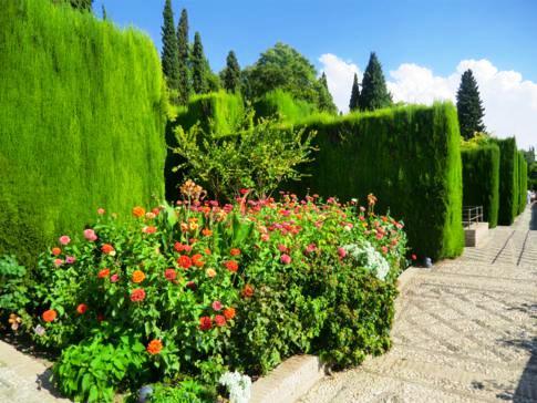 Die sehr schönen Gärten der Generalife in der Alhambra von Granada