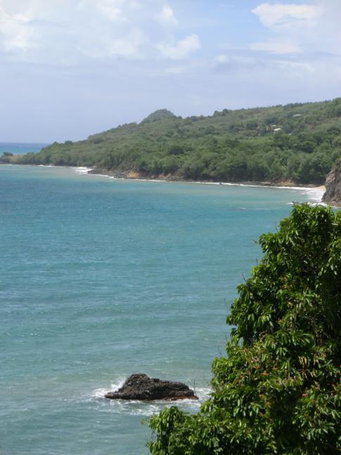 Blick vom Leapers Hill auf das karibische Meer sowie die Irvins Bay