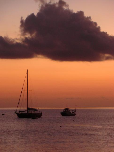 Sonnenuntergang nach dem Hash an der Grand Mal Bay in Grenada