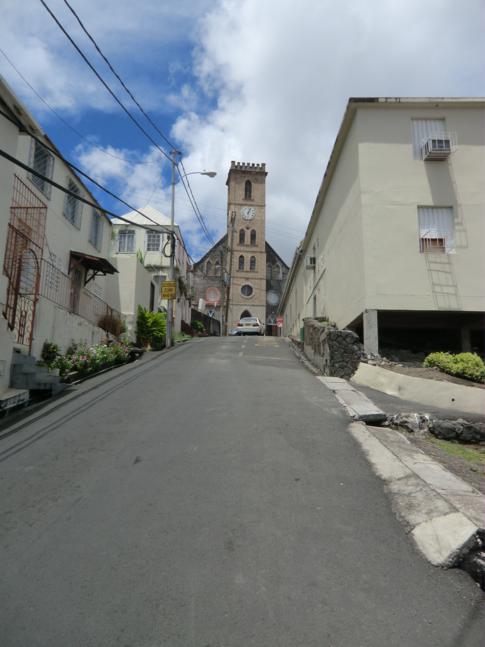 Die steilen Straßen von St. Georges, Hauptstadt von Grenada