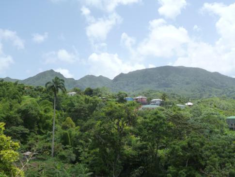 Ausblick von Birch Grove auf die höchsten Berge von Grenada