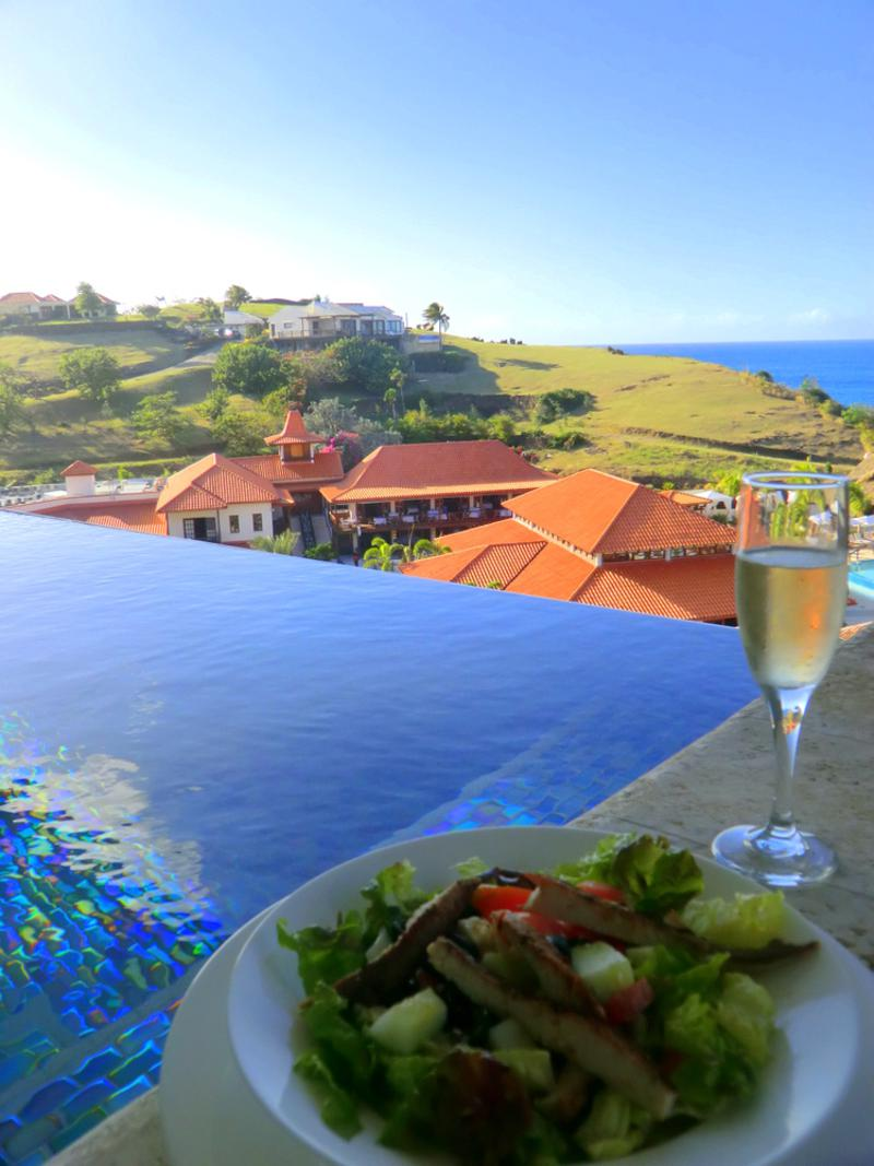 Privater Infinity-Pool und Meerblick aus meiner Luxury Butler Suite im Sandals LaSource Resort