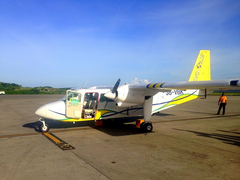 Flug mit einer BN2-Islander mit SVG Air von Grenada nach Carriacou