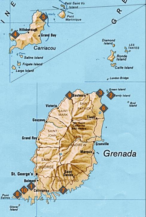 Übersichtskarte über die schönsten Strände auf Grenada