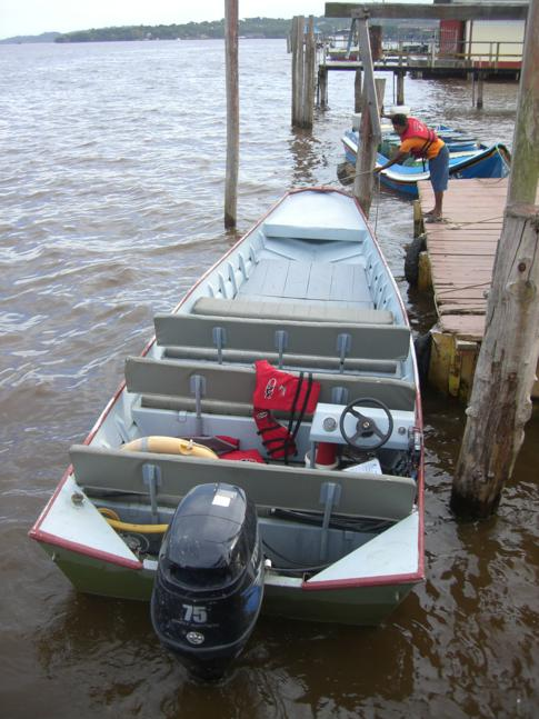 Das Boot, welches uns zum Flughafen von Bartica bringen sollte