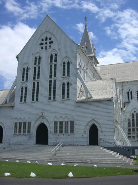 Eine der größten Holzkirchen der Welt, die St. Georges Kirche in Georgetown