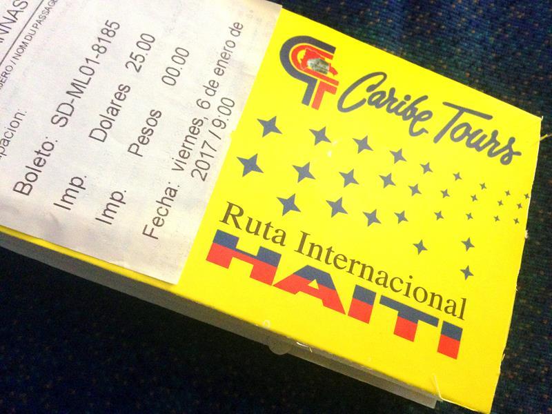 Mein Busticket von Santo Domingo in der Dominikanischen Republik nach Cap-Haitien in Haiti