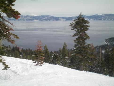 Blick auf den Lake Tahoe (von der Piste Dutch Treat)