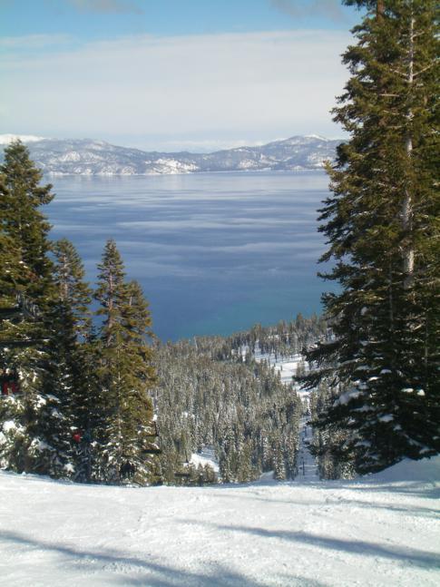 Blick auf den Lake Tahoe (von der Piste Ego Alley)