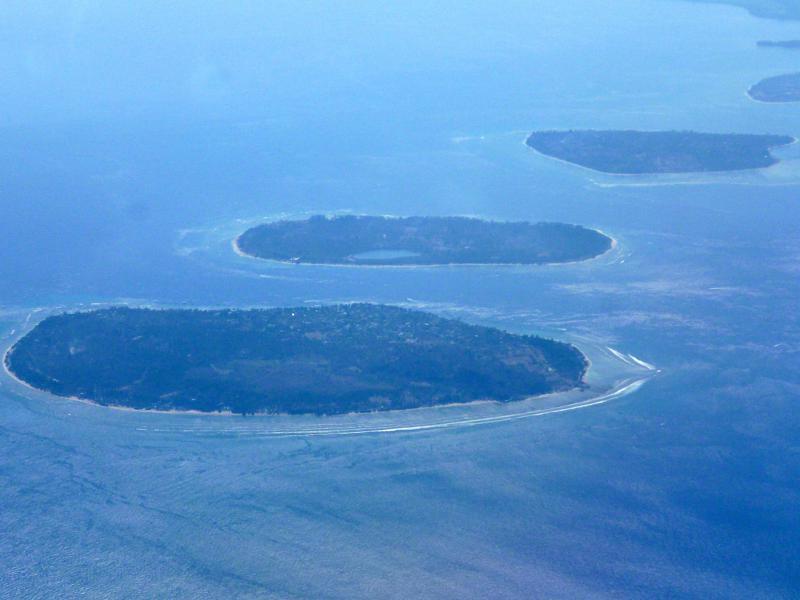 Die Gili Islands aus der Luft während des Fluges mit Air Asia von Johor Bahru nach Lombok