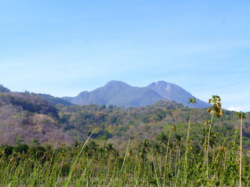 Blick auf den Gunung Egon auf Flores vom kleinen Küstenort Wodong