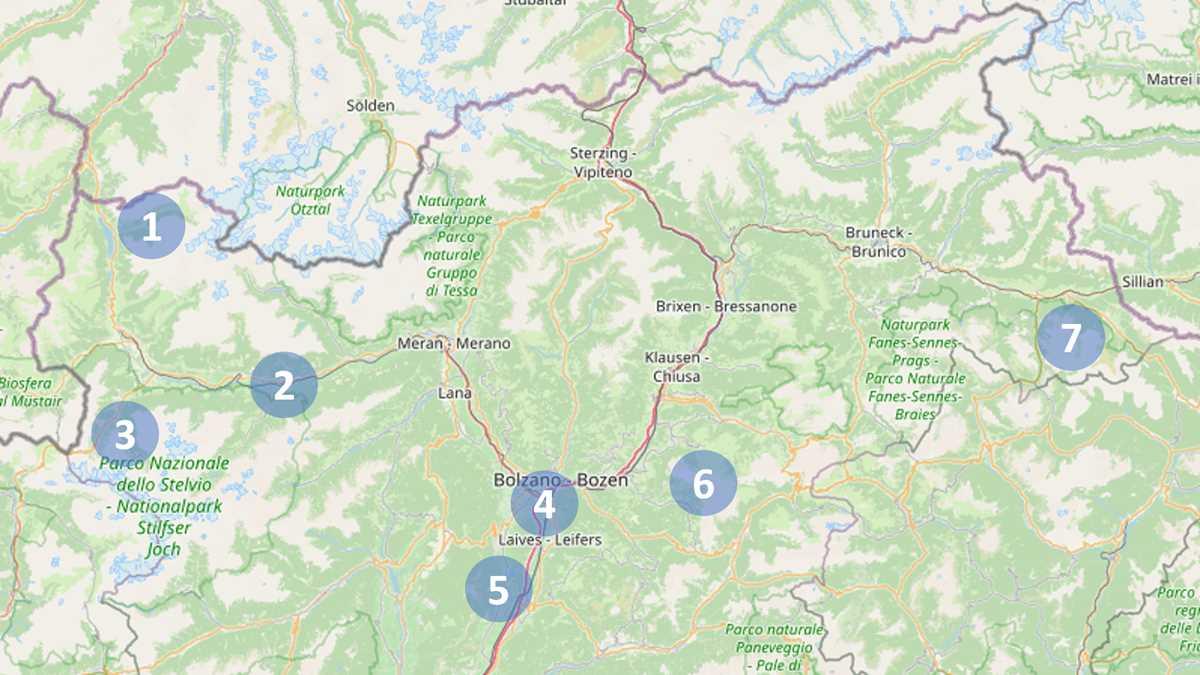 Karte von Südtirol mit den schönsten Urlaubsregionen