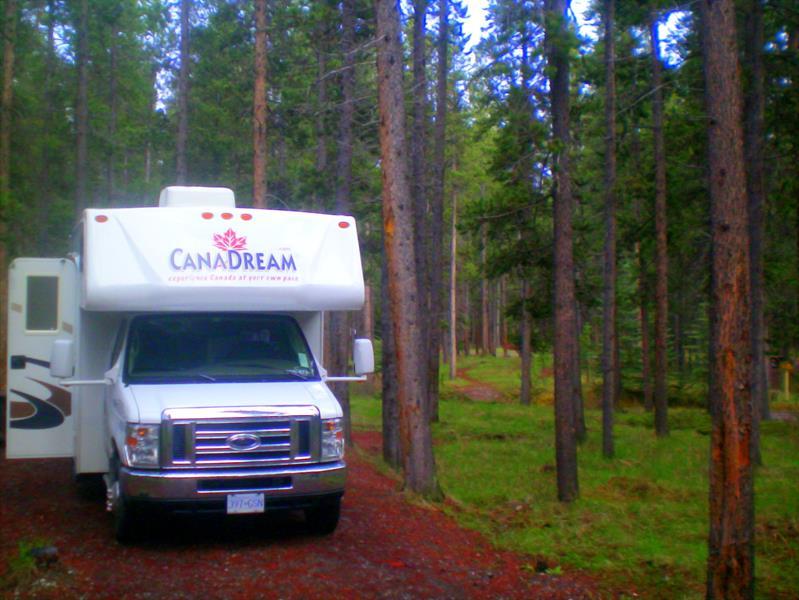 Wohnmobil von Canadream auf dem Whistlers Campground in Jasper