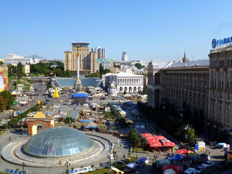 Blick vom City Center Hostel auf den Maidan