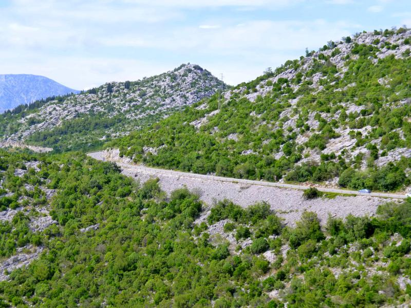 Traumhafte Landschaft auf dem Weg nach Dubrovnik