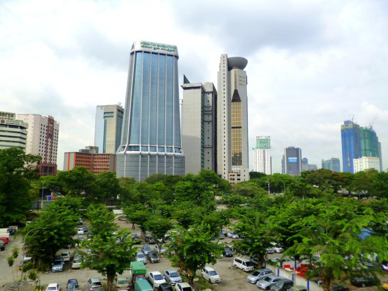 Blick vom Hostel The Traveller Hub auf Kuala Lumpur