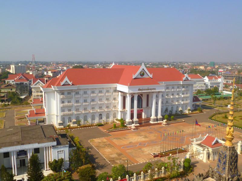 Ausblick vom Patuxai auf Vientiane, die Hauptstadt von Laos