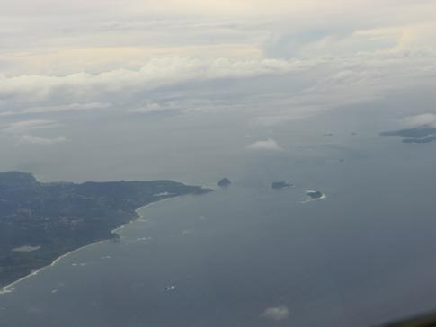 Die Nordküste von Grenada auf dem Flug mit Liat nach Barbados