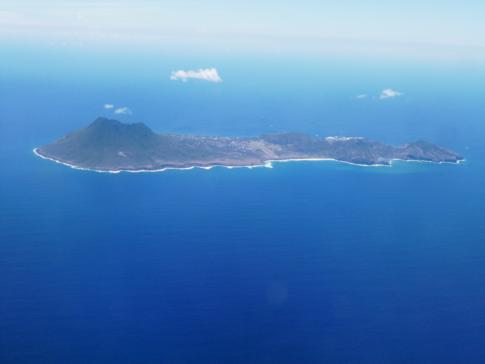 Blick auf St. Eustatius, auch Statia genannt, während des Fluges mit Liat nach St. Kitts