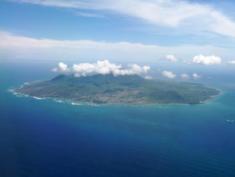 Blick auf Nevis, der Schwesterinsel von St. Kitts