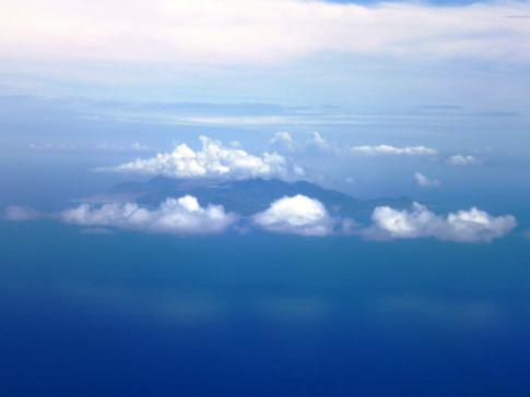 Blick auf Montserrat, der besonderen Vulkaninsel