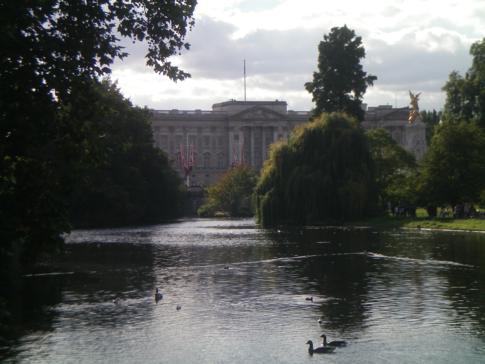 Blick vom St. James Park auf den Buckingham Palace