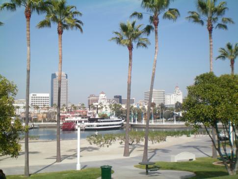 Der Yachthafen und die Skyline von Long Beach