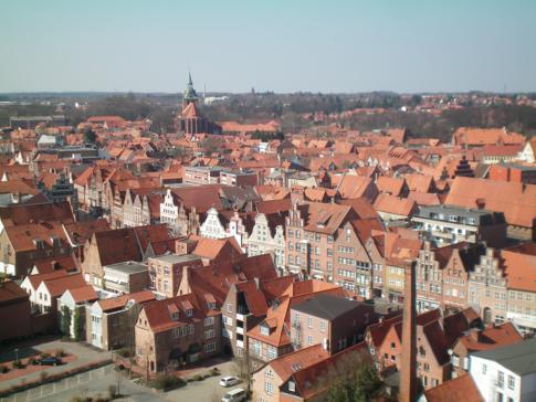 Aussicht vom Wasserturm auf die Altstadt in Lüneburg