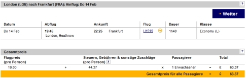 Ein Flug mit Lufthansa von London nach Frankfurt