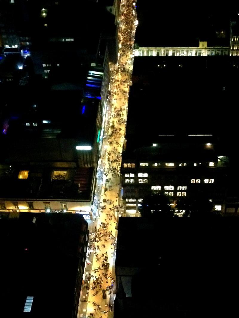 Ausblick vom Torre Latinoamerica auf das abendliche Mexico City