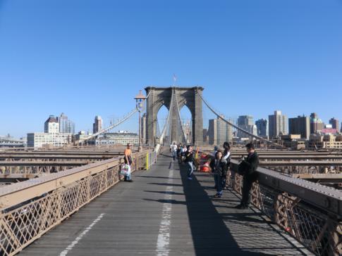Die Brooklyn Bridge, eine Verbindung auch für Fußgänger von Manhattan Downtown nach Brooklyn