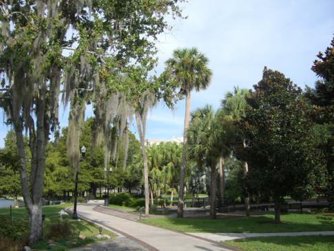 Der Park Lake Eola in Downtown Orlando