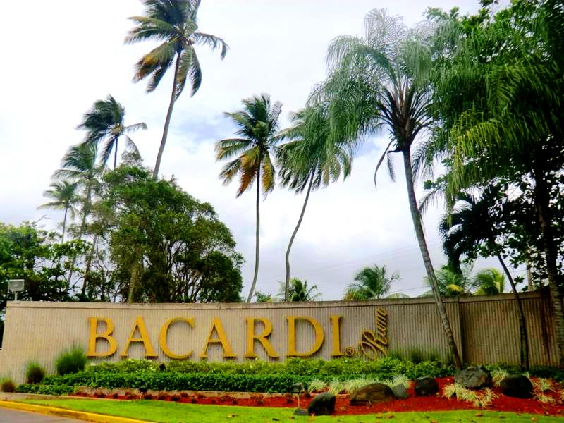 Der Eingang der Bacardi Rum Destillery nach San Juan