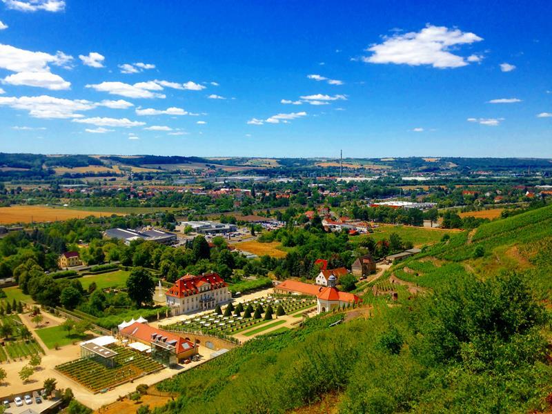 Ausblick vom Schloss Wackerbarth in Radebeul auf das Elbland bei Dresden