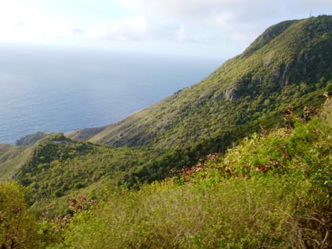 Ausblick auf die Bergwelt Sabas vom Dorf Hells Gate
