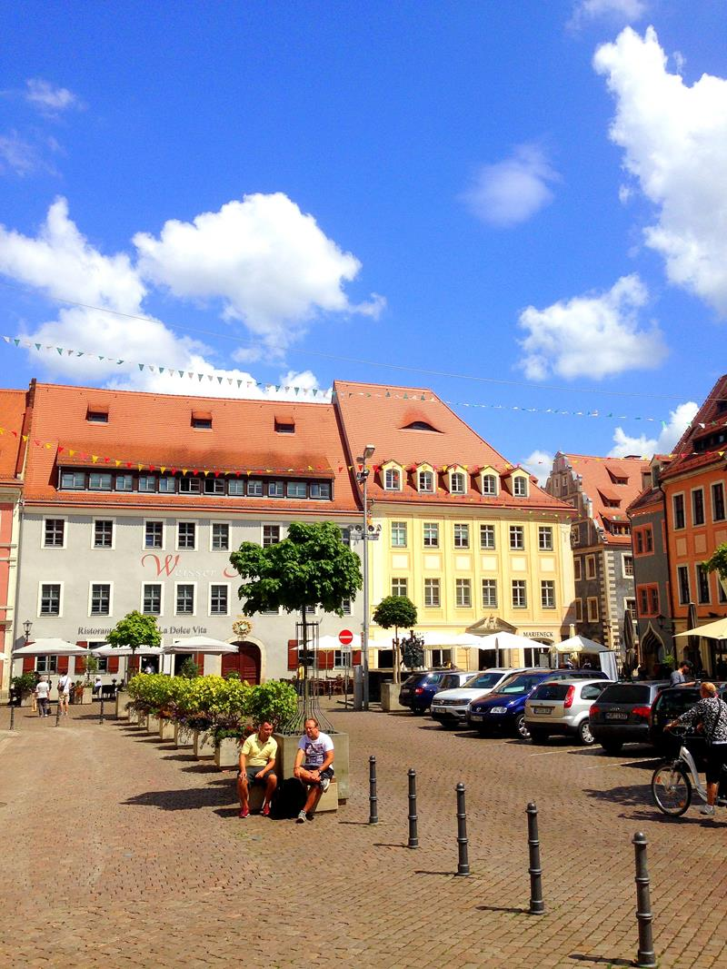 Der Marktplatz der Stadt Pirna, quasi dem Eingangstor zur Sächsischen Schweiz
